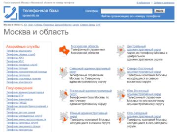 Справочник организаций Москвы и Московской области