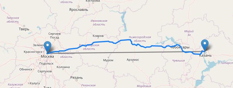 Расстояние Москва Казань на машине по трассе